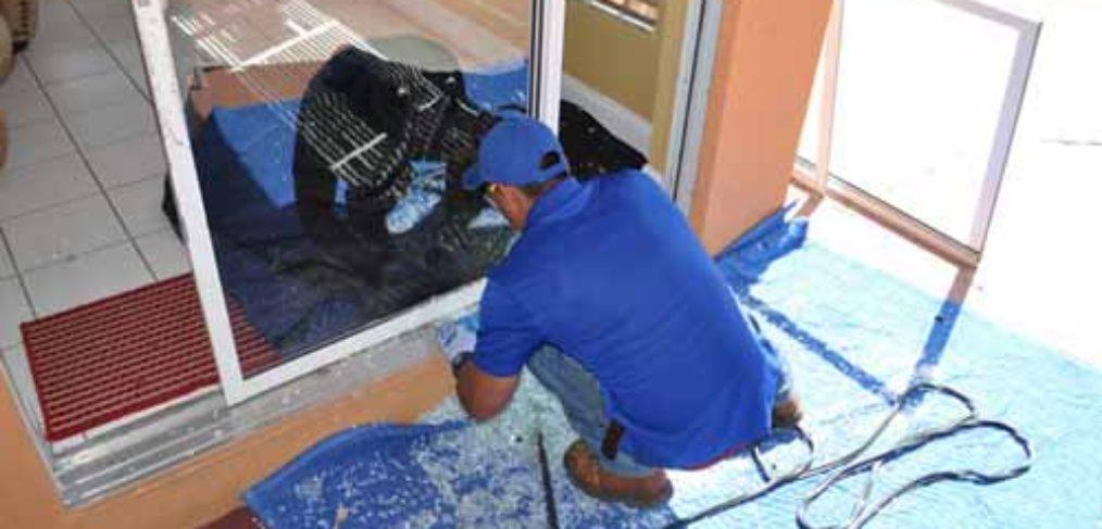 Installing a new sliding glass door in Boca Raton.